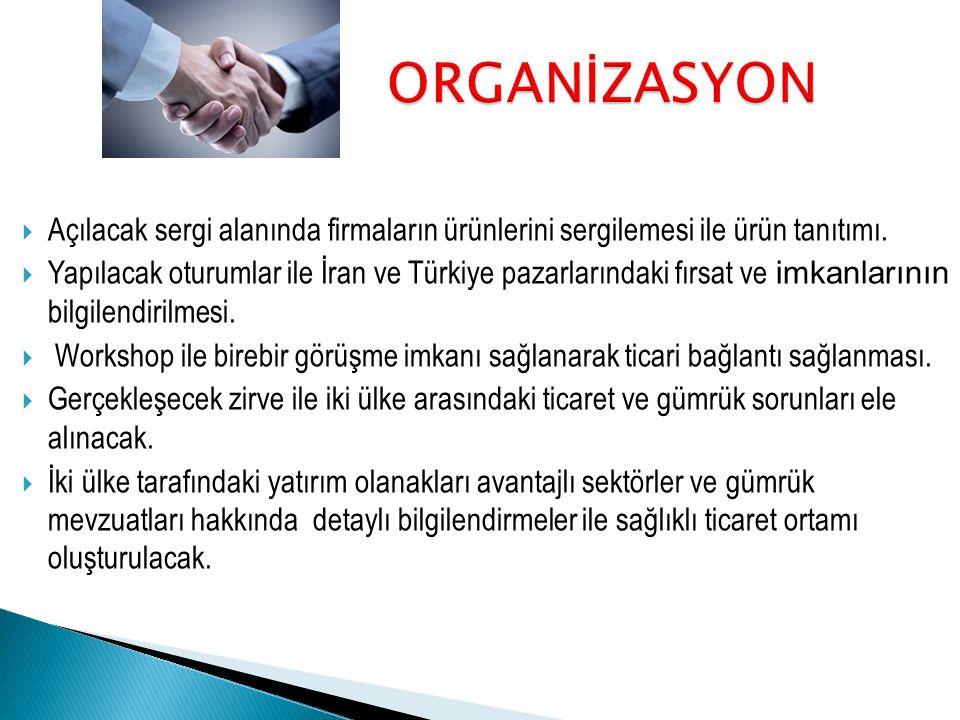  Açılacak sergi alanında firmaların ürünlerini sergilemesi ile ürün tanıtımı.