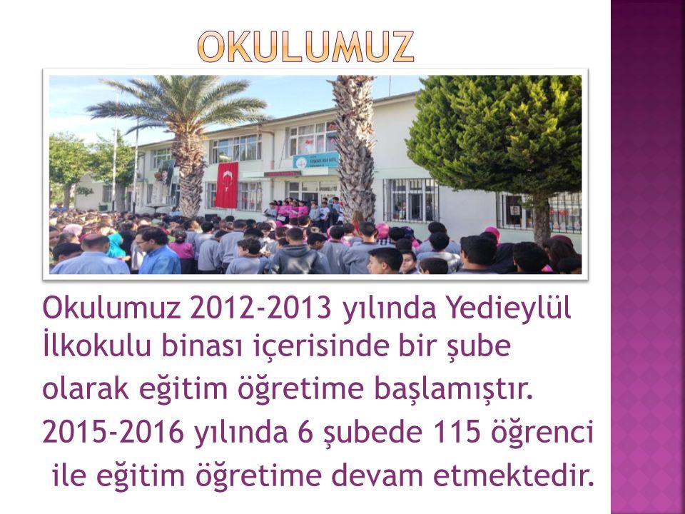 Okulumuz 2012-2013 yılında Yedieylül İlkokulu binası içerisinde bir şube olarak eğitim öğretime başlamıştır.