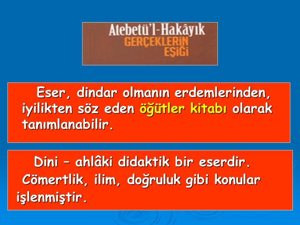 Eserin giriş kısmı (Allah'ın, peygamberin, Dört Halife'nin övüldüğü bölüm) gazel biçiminde kafiyelenmiş 46 beyitten oluşur. Eserin giriş kısmı (Allah'