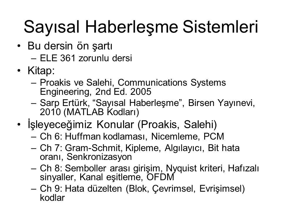 Sayısal Haberleşme Sistemleri Bu dersin ön şartı –ELE 361 zorunlu dersi Kitap: –Proakis ve Salehi, Communications Systems Engineering, 2nd Ed. 2005 –S