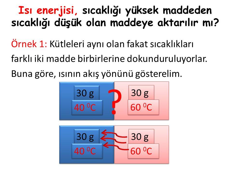 Örnek 2: Kütleleri ve sıcaklıkları farklı olan iki madde birbirlerine dokunduruluyorlar.