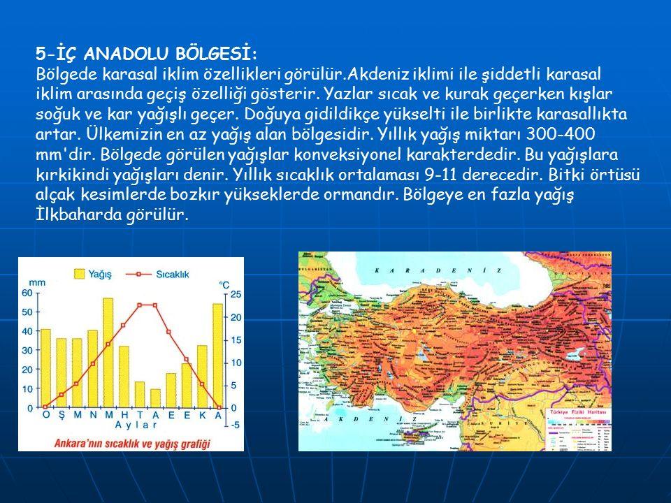 6-DOĞU ANADOLU BÖLGESİ: Sert karasal iklim özellikleri görülür.