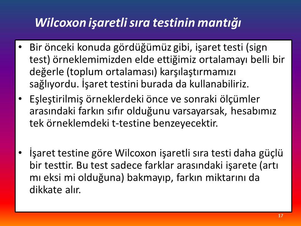 Wilcoxon işaretli sıra testinin mantığı Bir önceki konuda gördüğümüz gibi, işaret testi (sign test) örneklemimizden elde ettiğimiz ortalamayı belli bir değerle (toplum ortalaması) karşılaştırmamızı sağlıyordu.