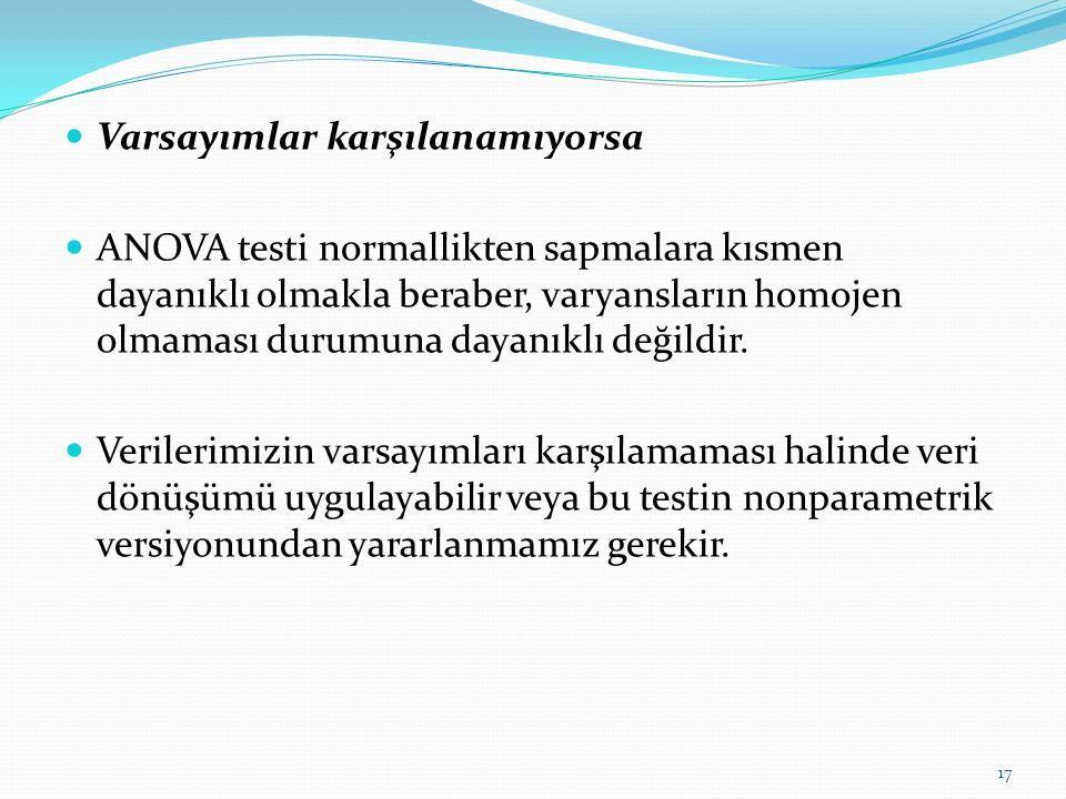 Varsayımlar karşılanamıyorsa ANOVA testi normallikten sapmalara kısmen dayanıklı olmakla beraber, varyansların homojen olmaması durumuna dayanıklı değildir.