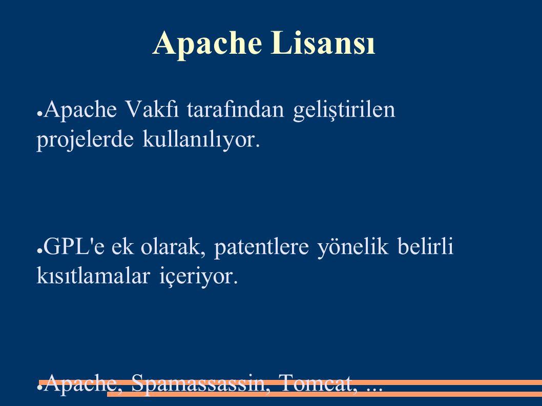 Apache Lisansı ● Apache Vakfı tarafından geliştirilen projelerde kullanılıyor. ● GPL'e ek olarak, patentlere yönelik belirli kısıtlamalar içeriyor. ●