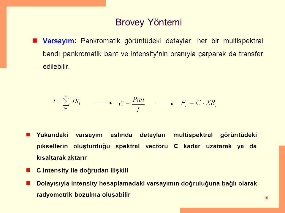 18 Brovey Yöntemi Varsayım: Pankromatik görüntüdeki detaylar, her bir multispektral bandı pankromatik bant ve intensity'nin oranıyla çarparak da trans