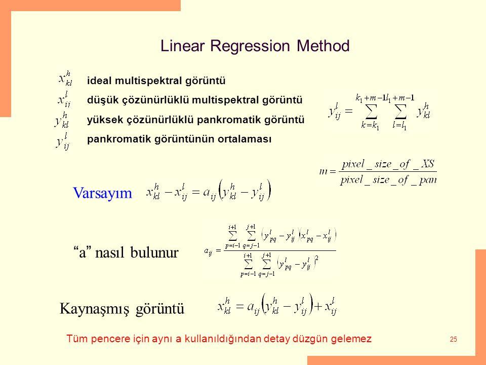 25 Linear Regression Method ideal multispektral görüntü düşük çözünürlüklü multispektral görüntü yüksek çözünürlüklü pankromatik görüntü pankromatik g