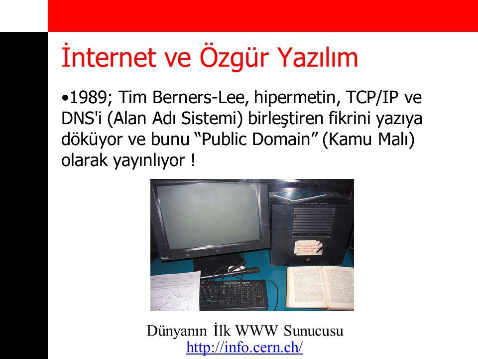 İnternet ve Özgür Yazılım 1969 – K.Thompson, D.Ritchies: UNICS 1983 – Richard Stallman ve GNU Projesi: Özgür Yazılım 1984 – GNU C (GCC) 1987 – MINIX (A.S.Tannenbaum): Açık kaynaklı ilk işletim sistemi (özgür yazılım değil !) 1991 – Linux 0.01 (Linus B.