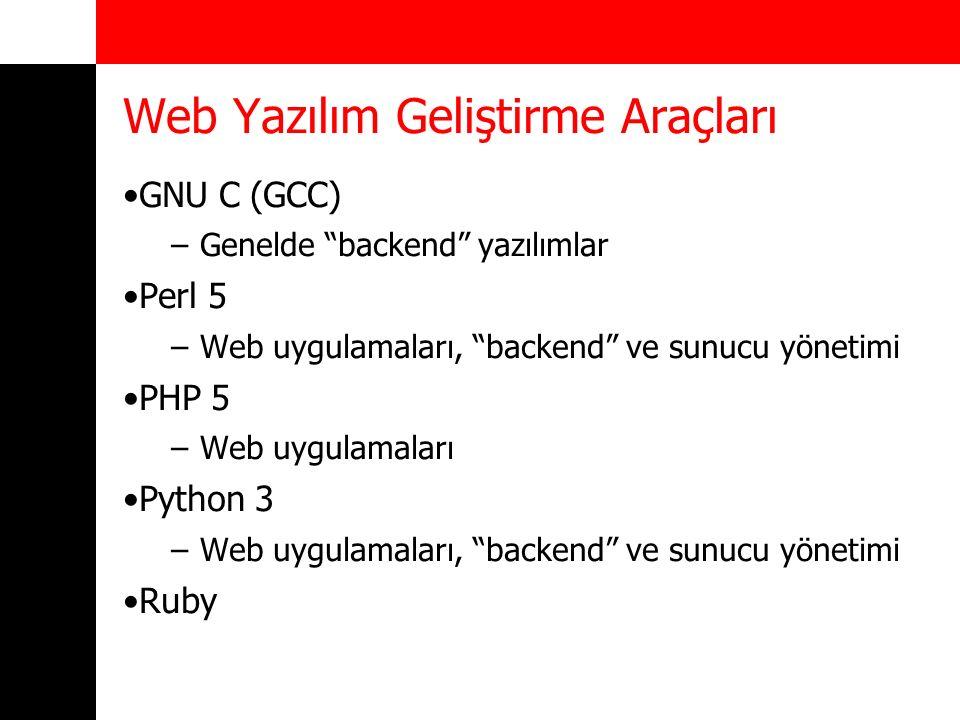 """Web Yazılım Geliştirme Araçları GNU C (GCC) –Genelde """"backend"""" yazılımlar Perl 5 –Web uygulamaları, """"backend"""" ve sunucu yönetimi PHP 5 –Web uygulamala"""