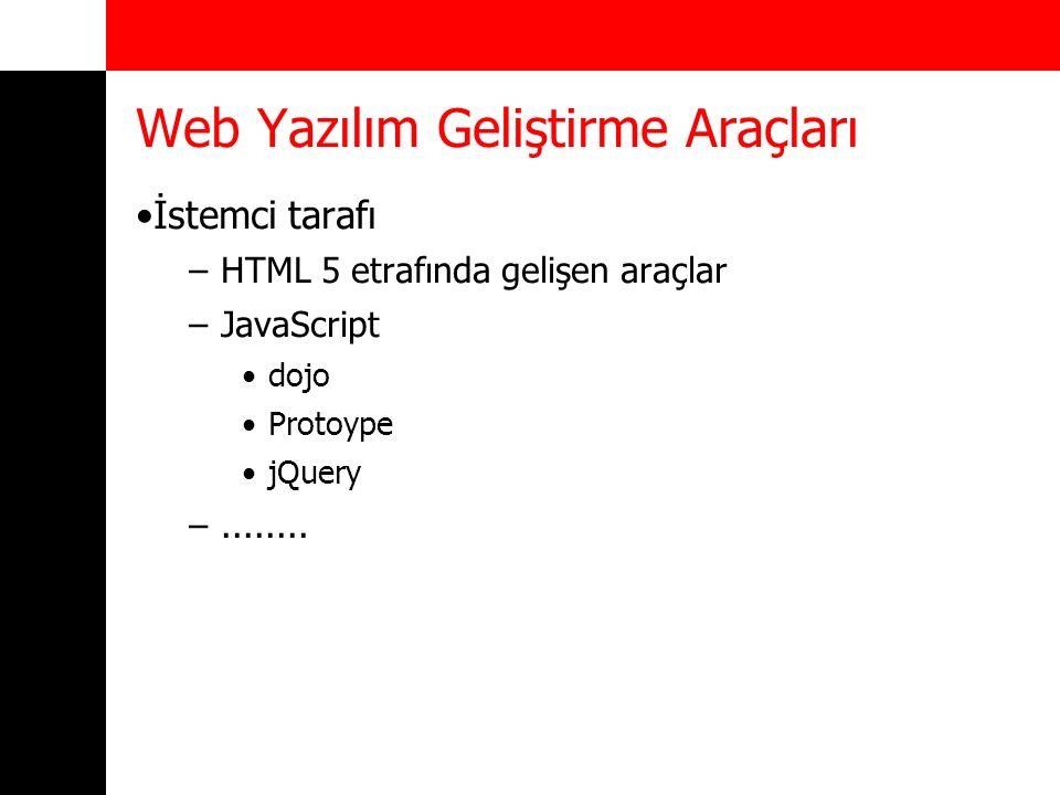Web Yazılım Geliştirme Araçları İstemci tarafı –HTML 5 etrafında gelişen araçlar –JavaScript dojo Protoype jQuery –........