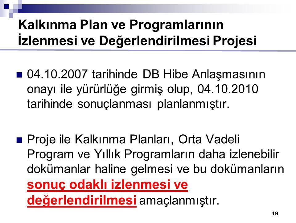 19 Kalkınma Plan ve Programlarının İzlenmesi ve Değerlendirilmesi Projesi 04.10.2007 tarihinde DB Hibe Anlaşmasının onayı ile yürürlüğe girmiş olup, 04.10.2010 tarihinde sonuçlanması planlanmıştır.