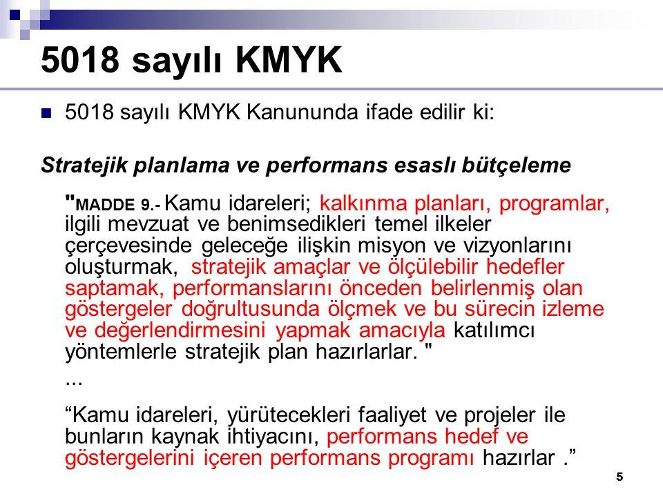 5 5018 sayılı KMYK 5018 sayılı KMYK Kanununda ifade edilir ki: Stratejik planlama ve performans esaslı bütçeleme