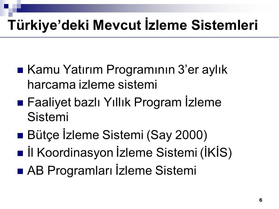 6 Kamu Yatırım Programının 3'er aylık harcama izleme sistemi Faaliyet bazlı Yıllık Program İzleme Sistemi Bütçe İzleme Sistemi (Say 2000) İl Koordinasyon İzleme Sistemi (İKİS) AB Programları İzleme Sistemi Türkiye'deki Mevcut İzleme Sistemleri