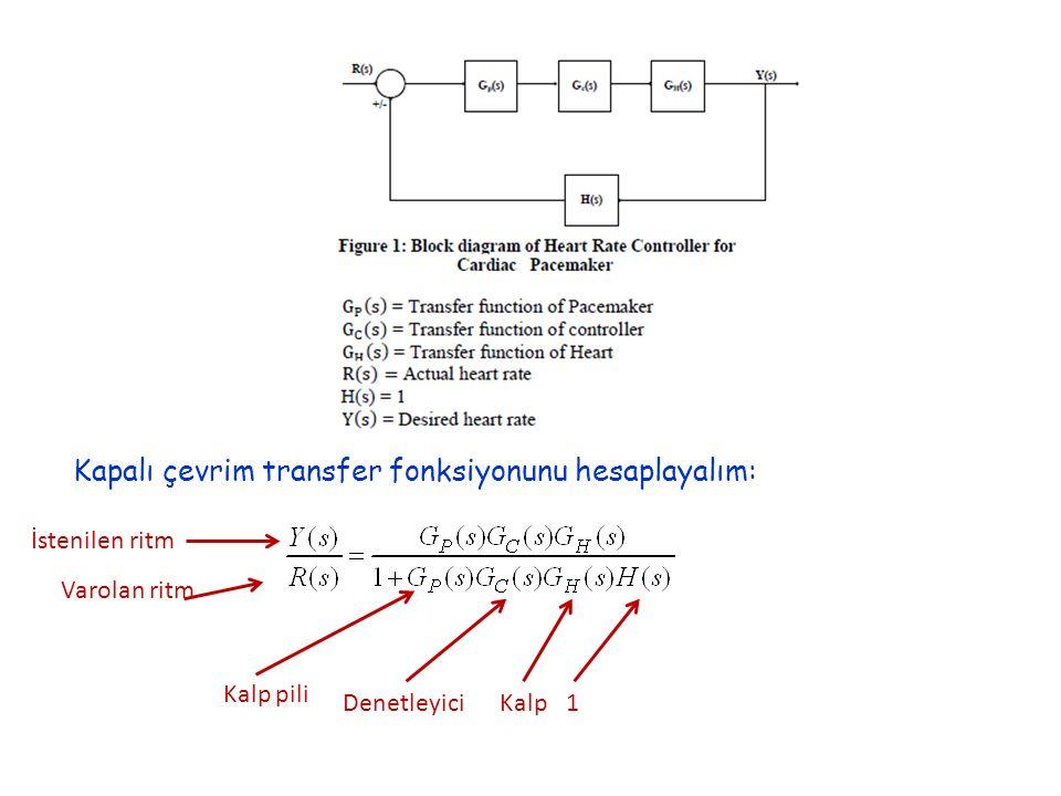 Kapalı çevrim transfer fonksiyonunu hesaplayalım: Kalp piliDenetleyiciKalp1 İstenilen ritm Varolan ritm