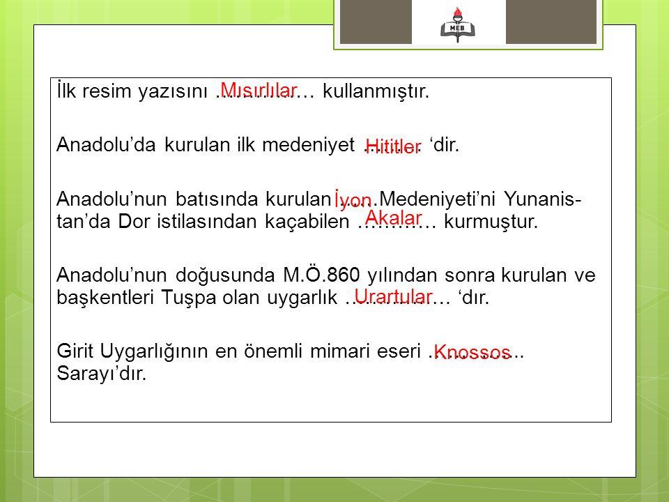 İlk resim yazısını …………… kullanmıştır.Anadolu'da kurulan ilk medeniyet ……… 'dir.