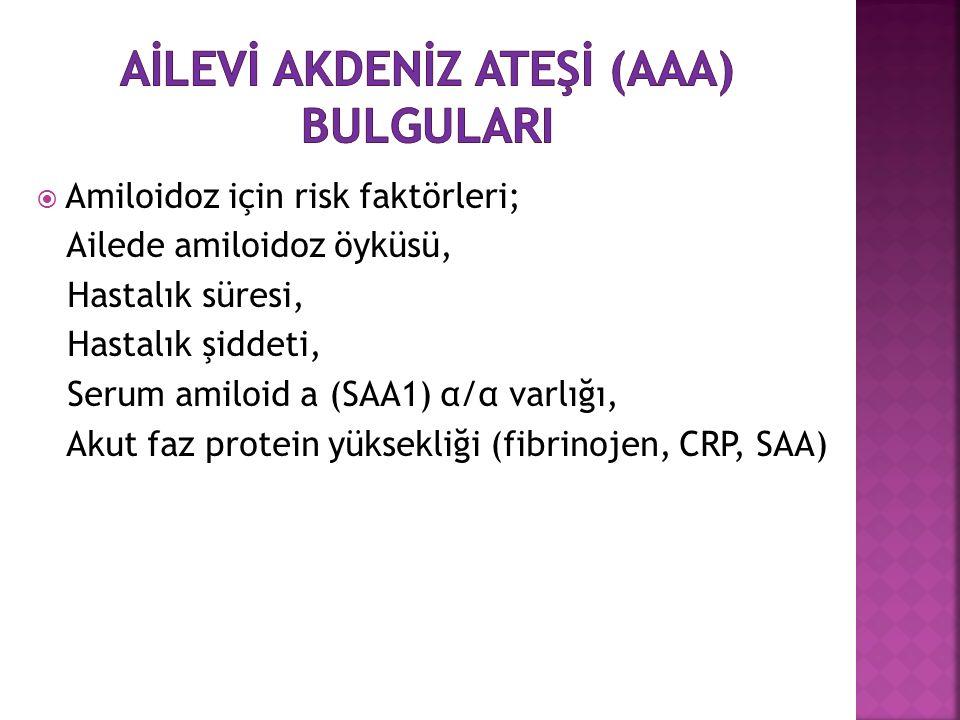  Amiloidoz için risk faktörleri; Ailede amiloidoz öyküsü, Hastalık süresi, Hastalık şiddeti, Serum amiloid a (SAA1) α/α varlığı, Akut faz protein yüksekliği (fibrinojen, CRP, SAA)