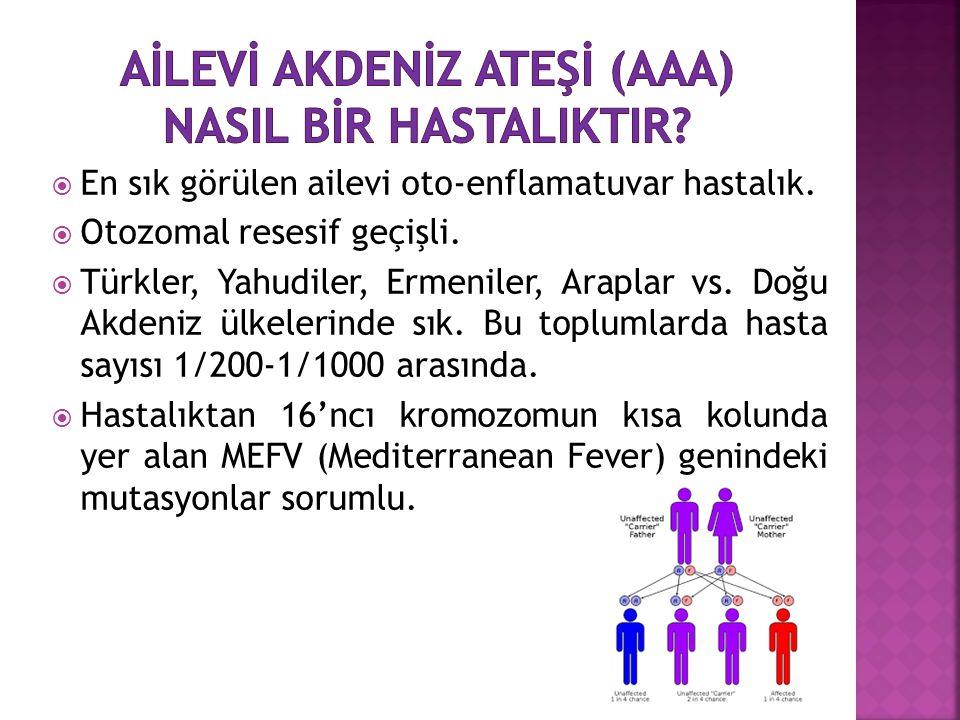  En sık görülen ailevi oto-enflamatuvar hastalık.  Otozomal resesif geçişli.  Türkler, Yahudiler, Ermeniler, Araplar vs. Doğu Akdeniz ülkelerinde s