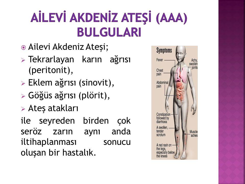  Ailevi Akdeniz Ateşi;  Tekrarlayan karın ağrısı (peritonit),  Eklem ağrısı (sinovit),  Göğüs ağrısı (plörit),  Ateş atakları ile seyreden birden