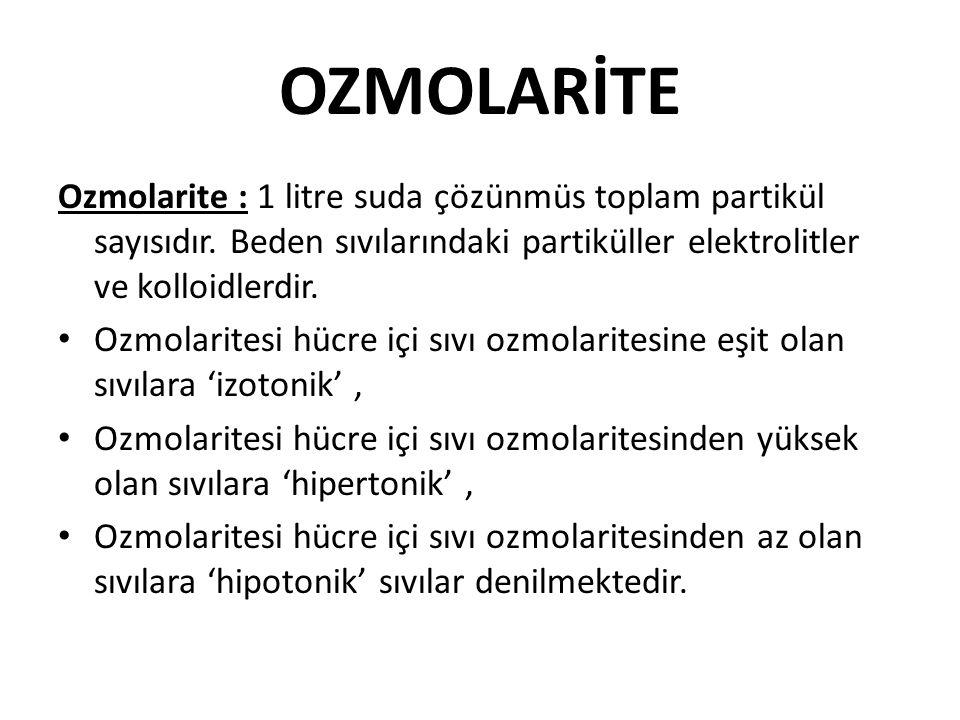OZMOLARİTE Ozmolarite : 1 litre suda çözünmüs toplam partikül sayısıdır. Beden sıvılarındaki partiküller elektrolitler ve kolloidlerdir. Ozmolaritesi
