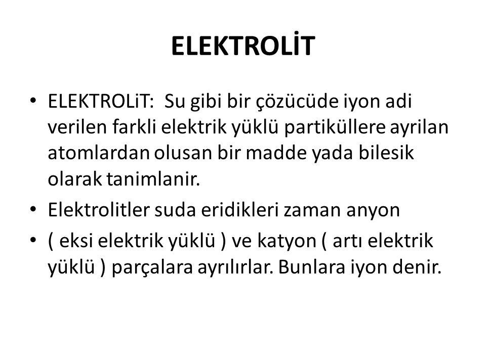 ELEKTROLİT ELEKTROLiT: Su gibi bir çözücüde iyon adi verilen farkli elektrik yüklü partiküllere ayrilan atomlardan olusan bir madde yada bilesik olara
