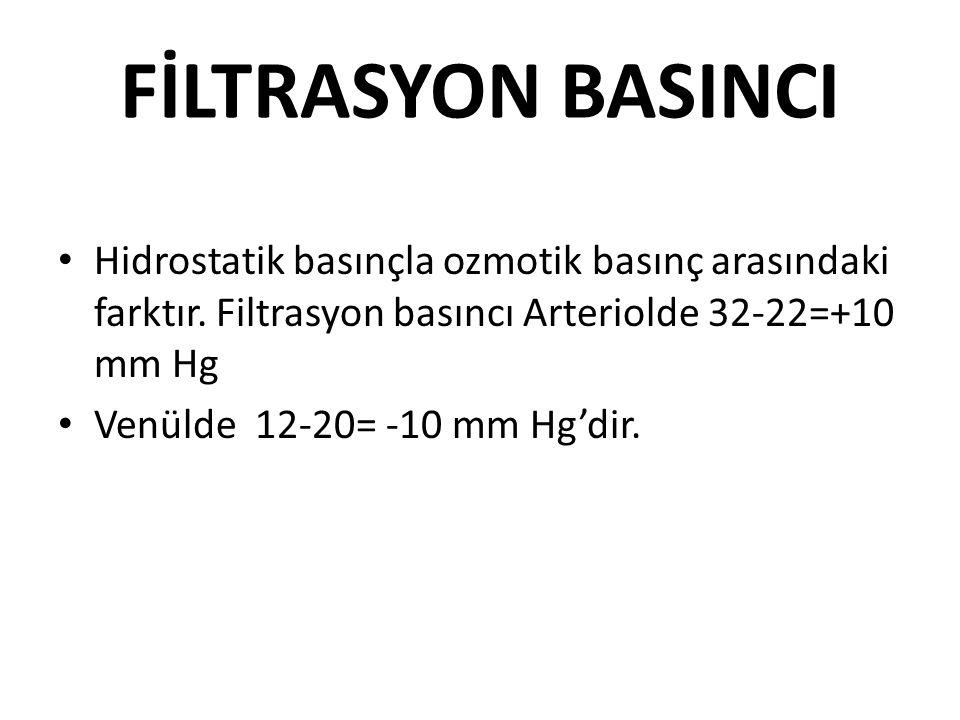 FİLTRASYON BASINCI Hidrostatik basınçla ozmotik basınç arasındaki farktır. Filtrasyon basıncı Arteriolde 32-22=+10 mm Hg Venülde 12-20= -10 mm Hg'dir.