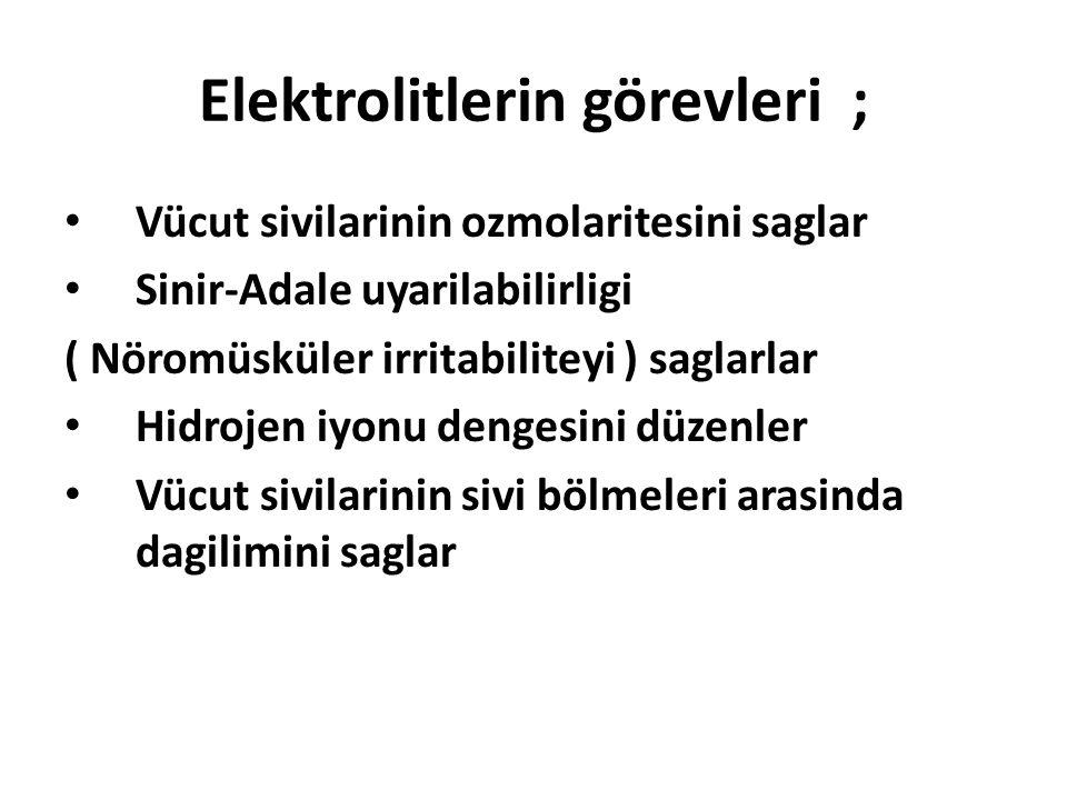 Elektrolitlerin görevleri ; Vücut sivilarinin ozmolaritesini saglar Sinir-Adale uyarilabilirligi ( Nöromüsküler irritabiliteyi ) saglarlar Hidrojen iyonu dengesini düzenler Vücut sivilarinin sivi bölmeleri arasinda dagilimini saglar