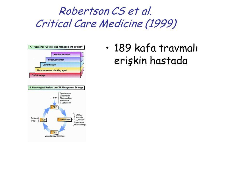 Robertson CS et al. Critical Care Medicine (1999) 189 kafa travmalı erişkin hastada