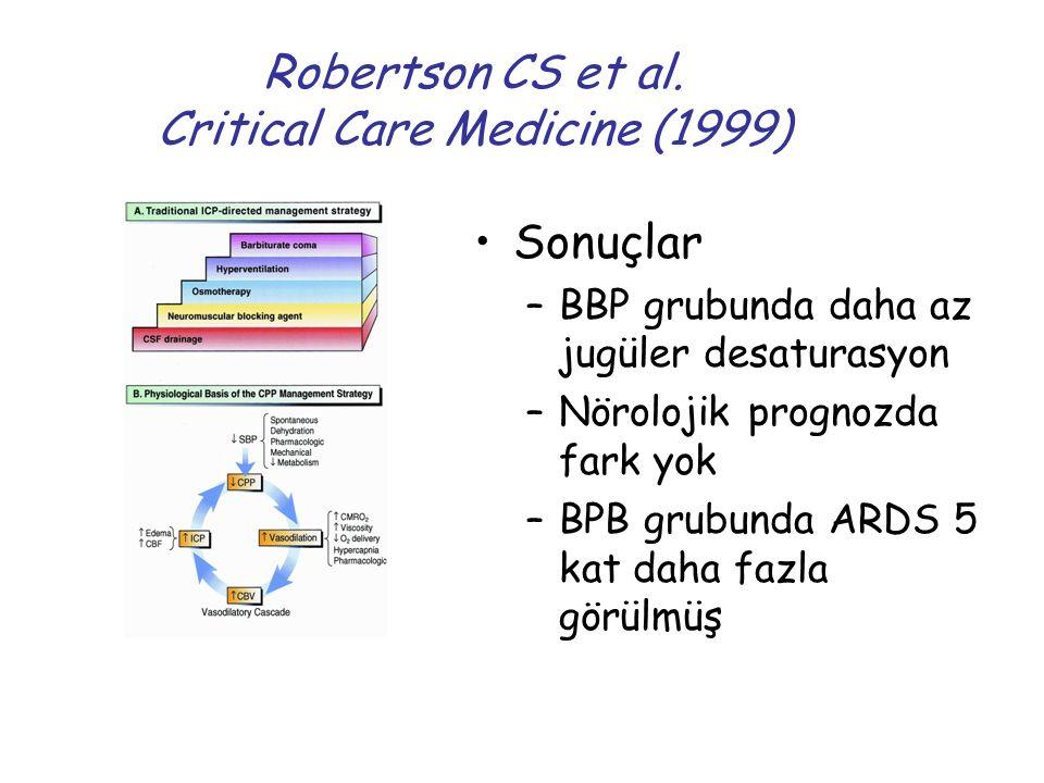 Robertson CS et al. Critical Care Medicine (1999) Sonuçlar –BBP grubunda daha az jugüler desaturasyon –Nörolojik prognozda fark yok –BPB grubunda ARDS