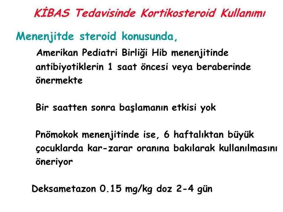 KİBAS Tedavisinde Kortikosteroid Kullanımı Menenjitde steroid konusunda, Amerikan Pediatri Birliği Hib menenjitinde antibiyotiklerin 1 saat öncesi vey