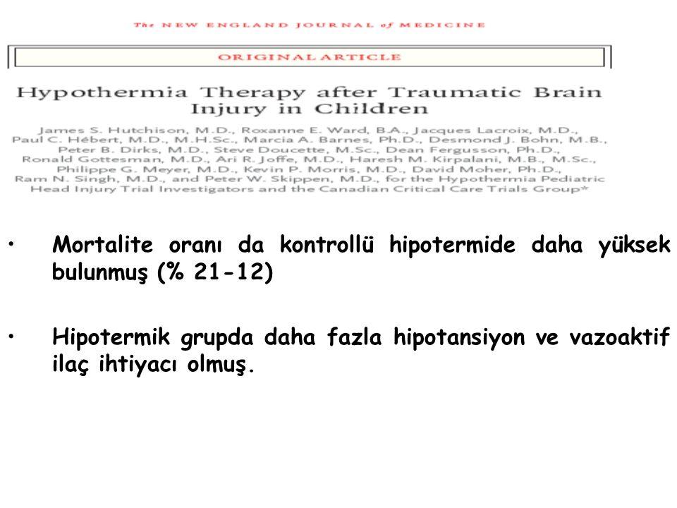 Mortalite oranı da kontrollü hipotermide daha yüksek bulunmuş (% 21-12) Hipotermik grupda daha fazla hipotansiyon ve vazoaktif ilaç ihtiyacı olmuş.
