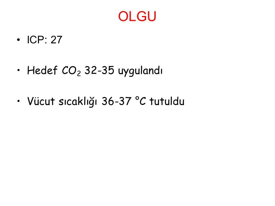 OLGU ICP: 27 Hedef CO 2 32-35 uygulandı Vücut sıcaklığı 36-37 °C tutuldu