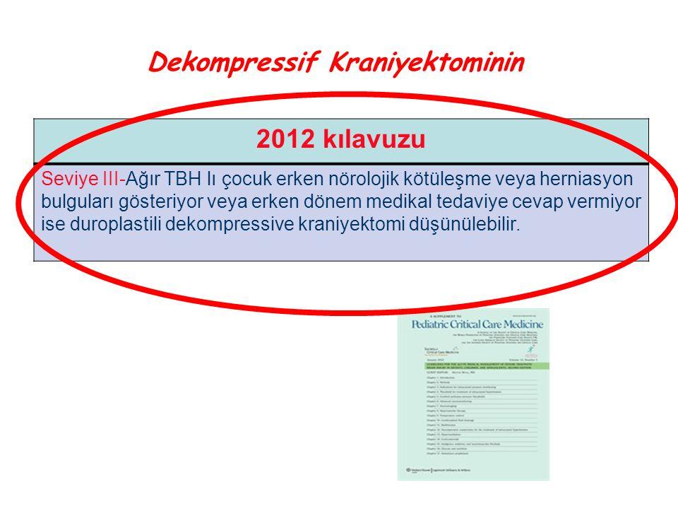 2012 kılavuzu Seviye III-Ağır TBH lı çocuk erken nörolojik kötüleşme veya herniasyon bulguları gösteriyor veya erken dönem medikal tedaviye cevap verm