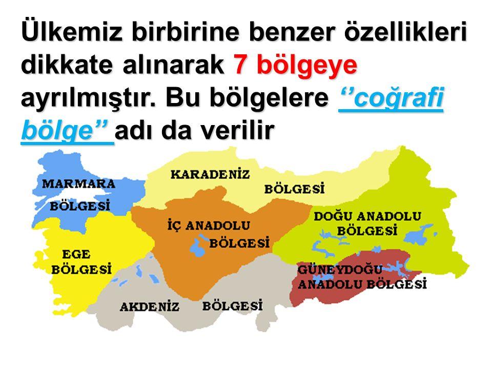 Ülkemiz birbirine benzer özellikleri dikkate alınarak 7 bölgeye ayrılmıştır.