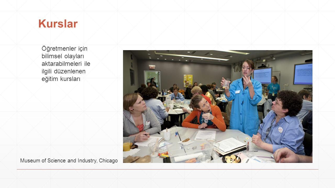 Kurslar Öğretmenler için bilimsel olayları aktarabilmeleri ile ilgili düzenlenen eğitim kursları Museum of Science and Industry, Chicago