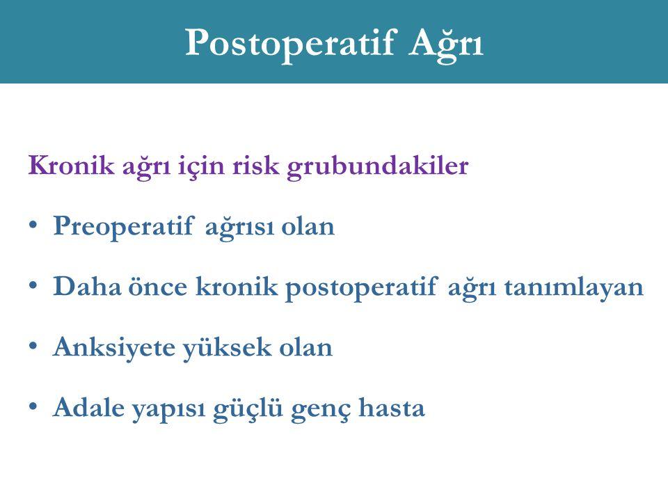 Postoperatif Ağrı Kronik ağrı için risk grubundakiler Preoperatif ağrısı olan Daha önce kronik postoperatif ağrı tanımlayan Anksiyete yüksek olan Adal