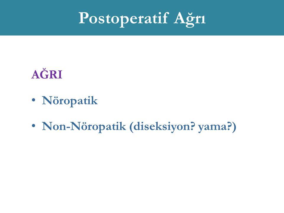 Postoperatif Ağrı AĞRI Nöropatik Non-Nöropatik (diseksiyon? yama?)