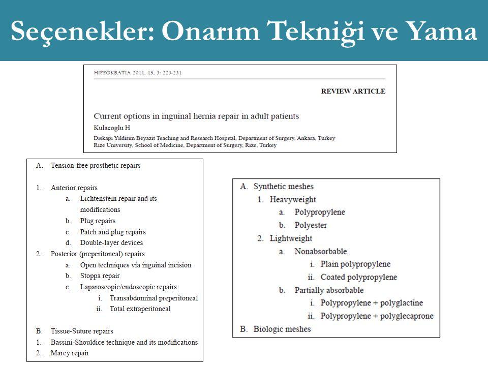 Seçenekler: Onarım Tekniği ve Yama