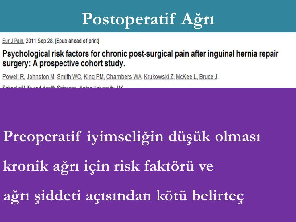 Genetik Yaş (<40 y) Cins ( ♀ ) Preoperatif kronik ağrı Psikolojik etkenler Nörofizyolojik etkenler İntraoperatif sinir hasarı Postoperatif akut şiddetli ağrı Preoperatif iyimseliğin düşük olması kronik ağrı için risk faktörü ve ağrı şiddeti açısından kötü belirteç