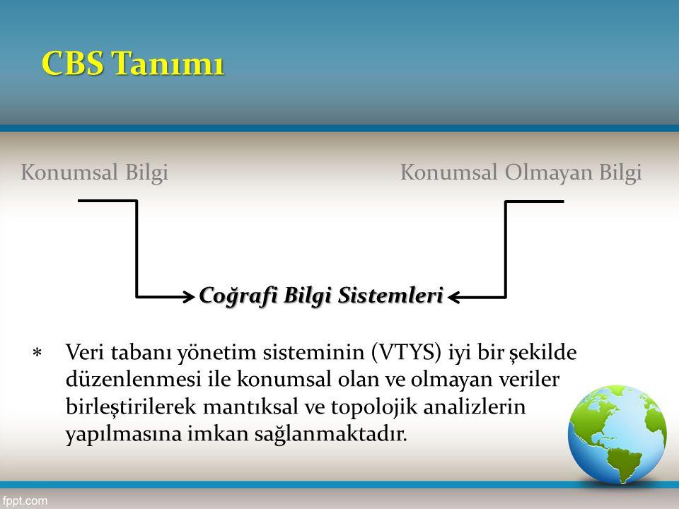 CBS Tanımı Konumsal BilgiKonumsal Olmayan Bilgi Coğrafi Bilgi Sistemleri  Veri tabanı yönetim sisteminin (VTYS) iyi bir şekilde düzenlenmesi ile konumsal olan ve olmayan veriler birleştirilerek mantıksal ve topolojik analizlerin yapılmasına imkan sağlanmaktadır.