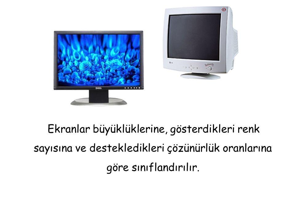 Ekranlar büyüklüklerine, gösterdikleri renk sayısına ve destekledikleri çözünürlük oranlarına göre sınıflandırılır.