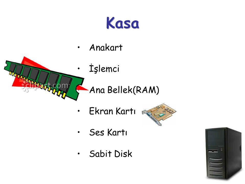 Kasa Anakart İşlemci Ana Bellek(RAM) Ekran Kartı Ses Kartı Sabit Disk