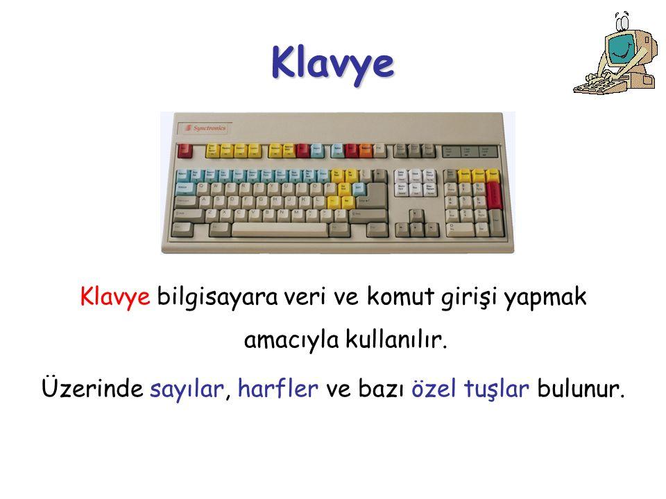 Klavye Klavye bilgisayara veri ve komut girişi yapmak amacıyla kullanılır.