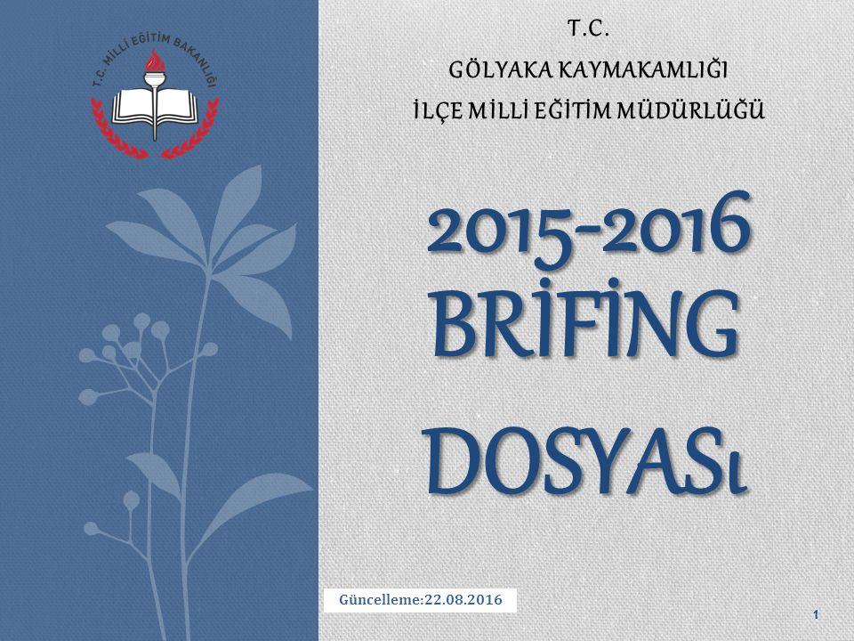 T.C. GÖLYAKA KAYMAKAMLIĞI İLÇE MİLLİ EĞİTİM MÜDÜRLÜĞÜ BRİFİNG DOSYASı 2015-2016 Güncelleme:22.08.2016 1