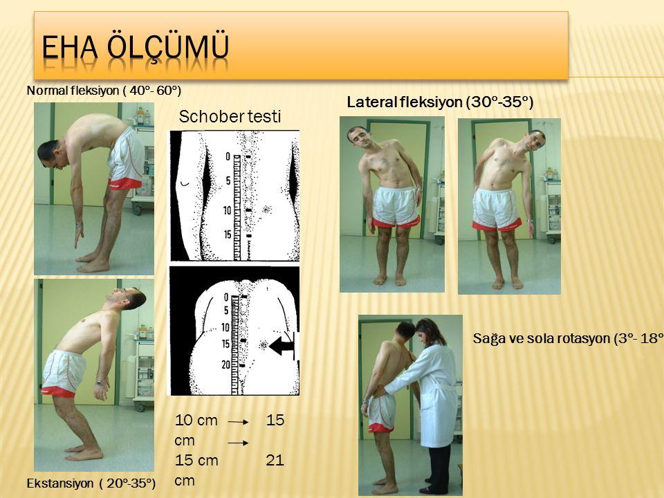 Normal fleksiyon ( 40  - 60  ) Schober testi 10 cm 15 cm 15 cm 21 cm Ekstansiyon ( 20  -35  ) Lateral fleksiyon (30  -35  ) Sağa ve sola rotasyon (3  - 18  )