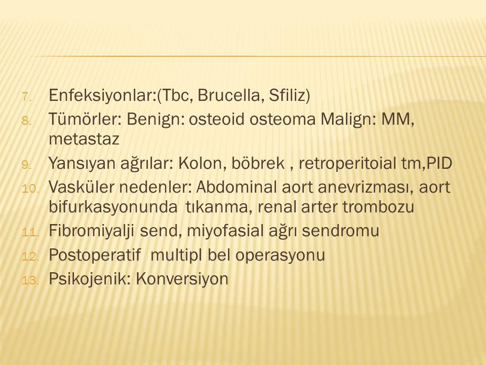 7. Enfeksiyonlar:(Tbc, Brucella, Sfiliz) 8.