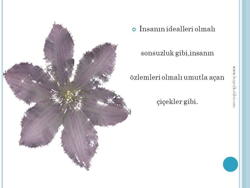 İnsanın idealleri olmalı sonsuzluk gibi,insanın özlemleri olmalı umutla açan çiçekler gibi.