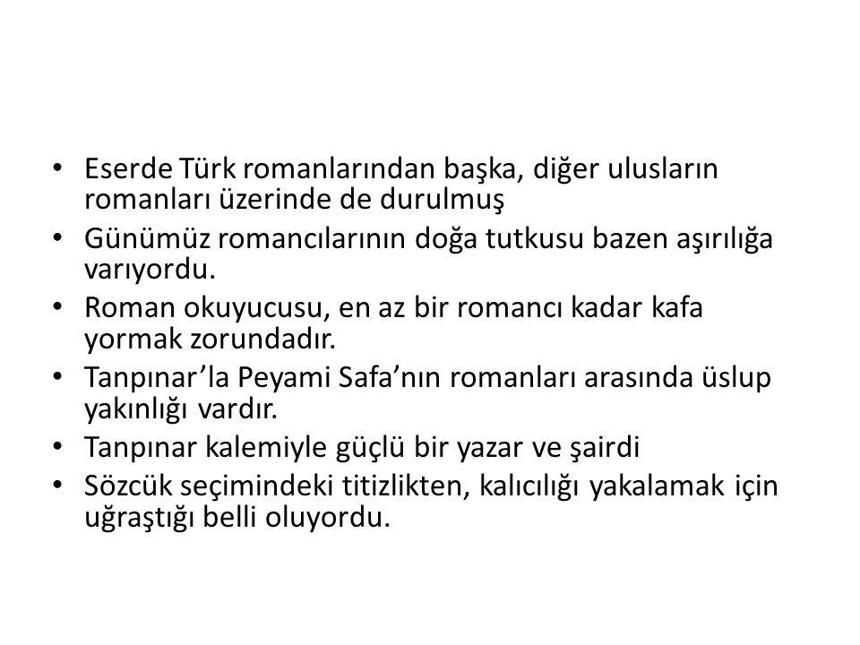 Eserde Türk romanlarından başka, diğer ulusların romanları üzerinde de durulmuş Günümüz romancılarının doğa tutkusu bazen aşırılığa varıyordu.