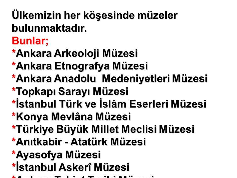 Ülkemizin her köşesinde müzeler bulunmaktadır. Bunlar; *Ankara Arkeoloji Müzesi *Ankara Etnografya Müzesi *Ankara Anadolu Medeniyetleri Müzesi *Topkap