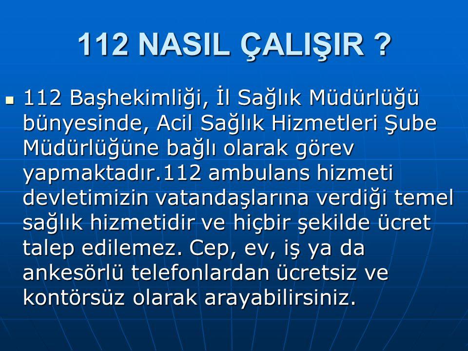 Kütahya'da 112 acil sağlık hizmetlerine ait 30 ambulans ve 16 istasyon mevcuttur.112 acil sağlık hizmetlerinde doktor, hemşire sağlık memuru, paramedik, acil tıp teknisyen ve şoför çalışmaktadır.112 Acil Ambulans Servisi 7 gün 24 saat kesintisiz olarak hizmet vermektedir Kütahya'da 112 acil sağlık hizmetlerine ait 30 ambulans ve 16 istasyon mevcuttur.112 acil sağlık hizmetlerinde doktor, hemşire sağlık memuru, paramedik, acil tıp teknisyen ve şoför çalışmaktadır.112 Acil Ambulans Servisi 7 gün 24 saat kesintisiz olarak hizmet vermektedir 112 NASIL ÇALIŞIR ?