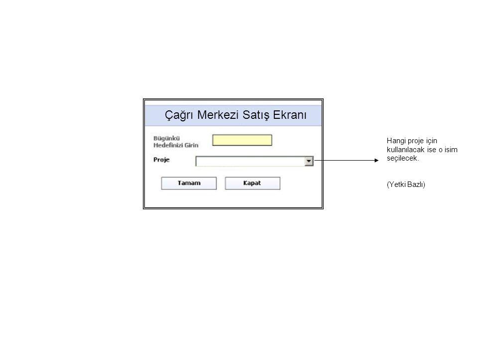 Çağrı Merkezi Satış Ekranı Hangi proje için kullanılacak ise o isim seçilecek. (Yetki Bazlı)